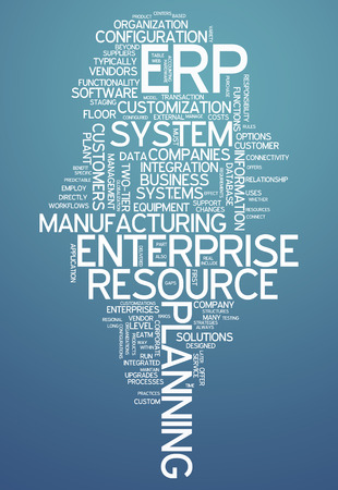 Word Cloud with Enterprise Resource Planning related tags Фото со стока
