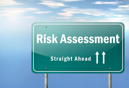 public health: Highway Signpost with Risk Assessment wording
