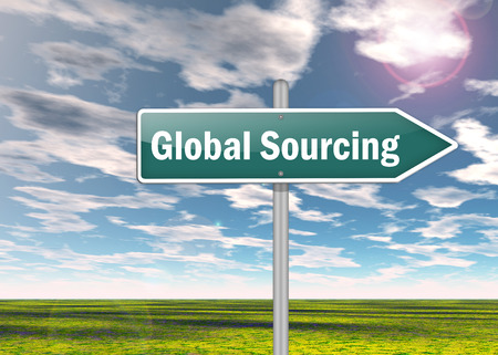 sourcing: Signpost with Global Sourcing wording