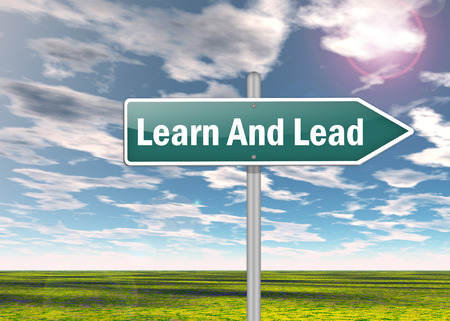 Signpost with Learn And Lead wording