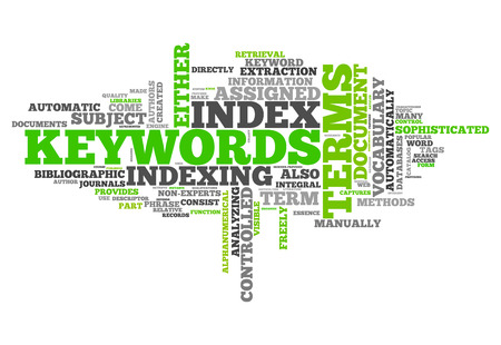 seo: Word Cloud with Keywords related tags Stock Photo