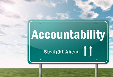 Autobahn Wegweiser mit Accountability Wortlaut
