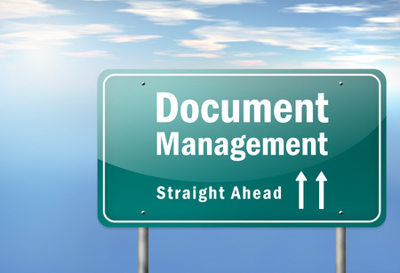 Highway Signpost with Document Management wording Stock Photo