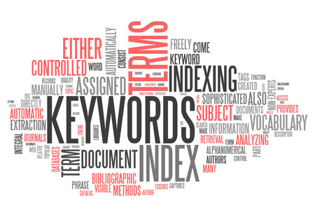 Word Cloud with Keywords related tags Stock Photo