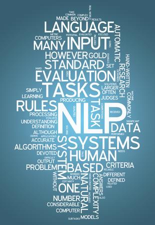 interakcje: Słowo Chmura tagów NLP związane z Zdjęcie Seryjne