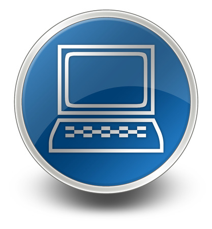 ordinateur de bureau: Ic�ne, bouton, pictogramme avec Desktop Computer symbole