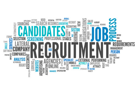 recruiting: Word Cloud with Recruitment related tags Stock Photo