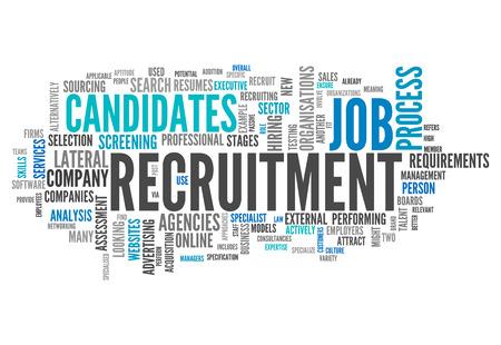 Wort-Wolke mit Recruitment verwandte Tags Lizenzfreie Bilder