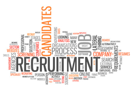 screening: Word Cloud with Recruitment related tags Stock Photo