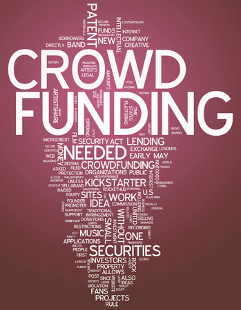 founder: Word Cloud with Crowd Funding related tags Stock Photo