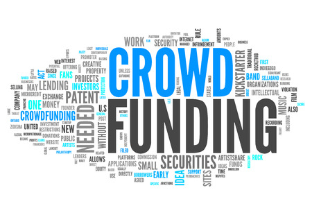funded: Word Cloud with Crowd Funding related tags Stock Photo