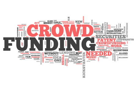hyper: Word Cloud with Crowd Funding related tags Stock Photo