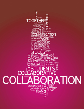 synergies: Word Cloud with Collaboration related tags Stock Photo