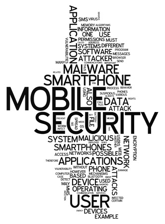 trojans: Word Cloud with Mobile Security related tags Stock Photo