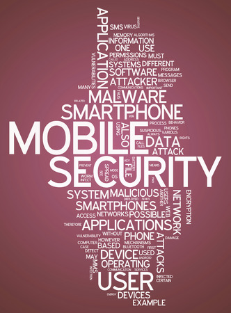 exploit: Word Cloud with Mobile Security related tags Stock Photo