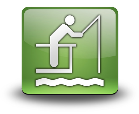 recreational fishermen: Icon, Button, Pictogram with Fishing Pier symbol