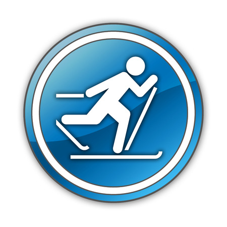 crosscountry: Icon, Button, Pictogram with Cross-Country Skiing symbol