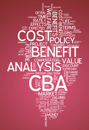 feasibility: Word Cloud with Cost-Benefit Analysis related tags Stock Photo