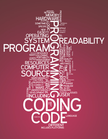 Word Cloud with Coding related tags photo