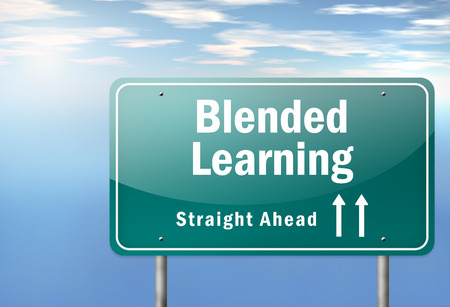 blended: Highway Signpost with Blended Learning wording
