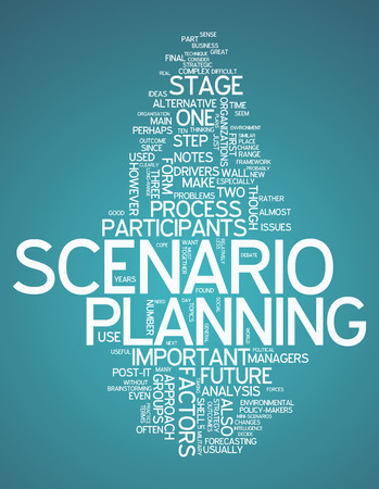 think tank: Word Cloud with Scenario Planning related wording