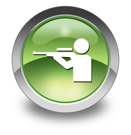 gun license: Icon, Button, Pictogram with Hunting symbol