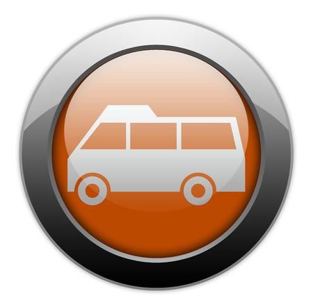 Icon, Button, Pictogram with Van symbol Stock Photo