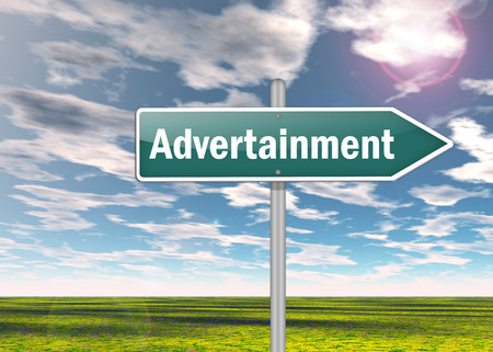 Signpost with Advertainment wording Stock Photo