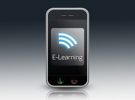 elearning: Smartphone with E-Learning wording Stock Photo