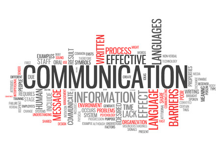 Word Cloud with Communication related tags Standard-Bild