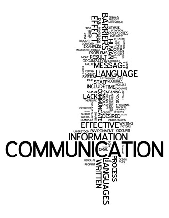 Word Cloud with Communication related tags Stock Photo