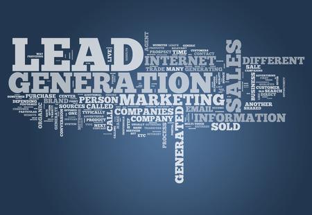 generace: Word Cloud s lead generation souvisejících tagů