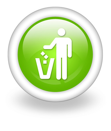 dispose: Pictogram with Litter Container symbol Stock Photo