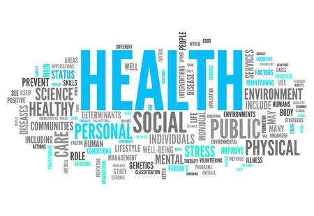Word Cloud met gezondheid gerelateerde tags Stockfoto