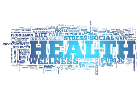 Word Cloud with Health related tags photo