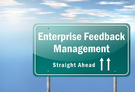 surveyed: Highway Signpost with Enterprise Feedback Management wording Stock Photo