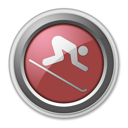 piste: Icon, Button, Pictogram with Downhill Skiing symbol