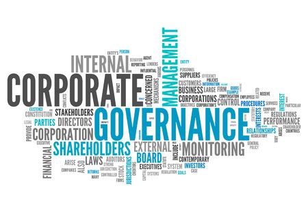 gobierno corporativo: Nube de la palabra con las etiquetas vinculadas a la gobernanza corporativa