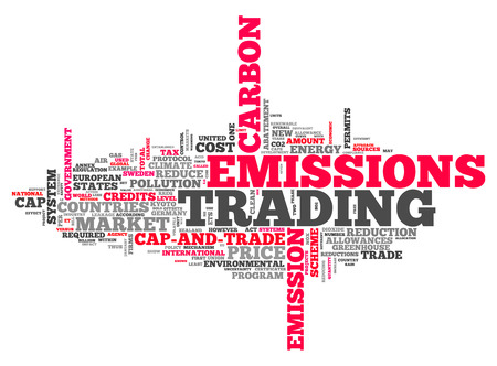 emissions: Word Cloud with Emissions Trading related tags Stock Photo