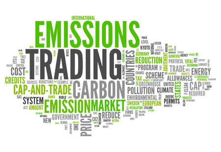 emission: Word Cloud with Emissions Trading related tags Stock Photo