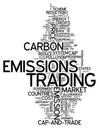 pollutants: Word Cloud with Emissions Trading related tags Stock Photo