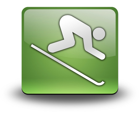 downhill skiing: Icon, Button, Pictogram with Downhill Skiing symbol