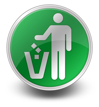 dispose: Icon, Button, Pictogram with Litter Container symbol