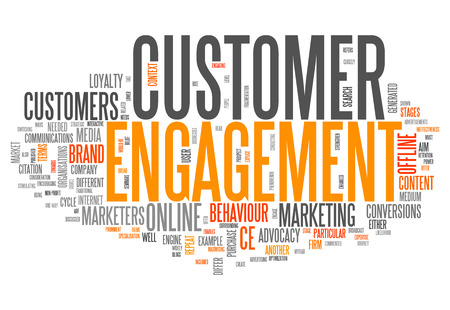 Word Cloud met Customer Engagement gerelateerde tags Stockfoto