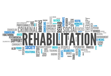 therapy: Word Cloud with Rehabilitation related tags Stock Photo