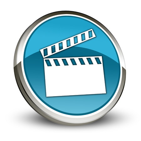 videotape: Icon, Button, Pictogram with Clapperboard symbol Stock Photo