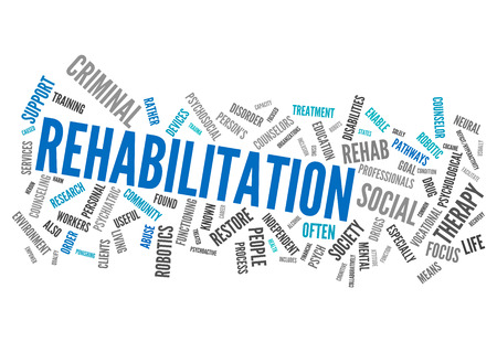 rehabilitated: Word Cloud with Rehabilitation related tags Stock Photo