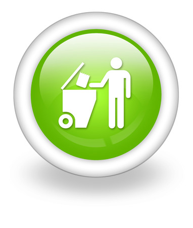 dumpster: Icon, Button, Pictogram with Trash Dumpster symbol