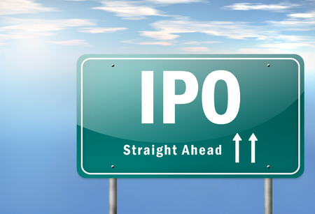 stock market launch: Highway Signpost with IPO wording