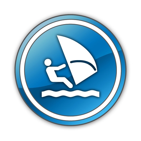 windsurfers: Icon, Button, Pictogram with Windsurfing symbol